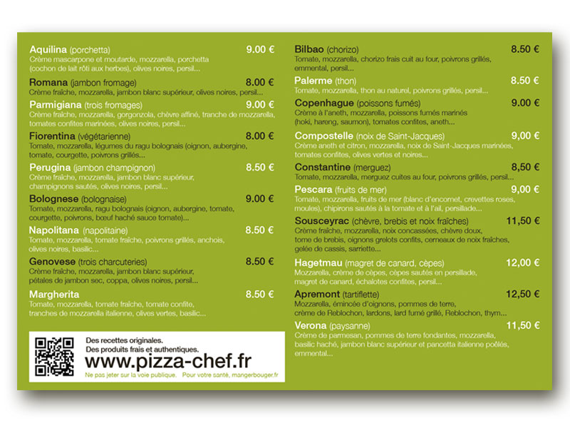Flyer pizza chef verso